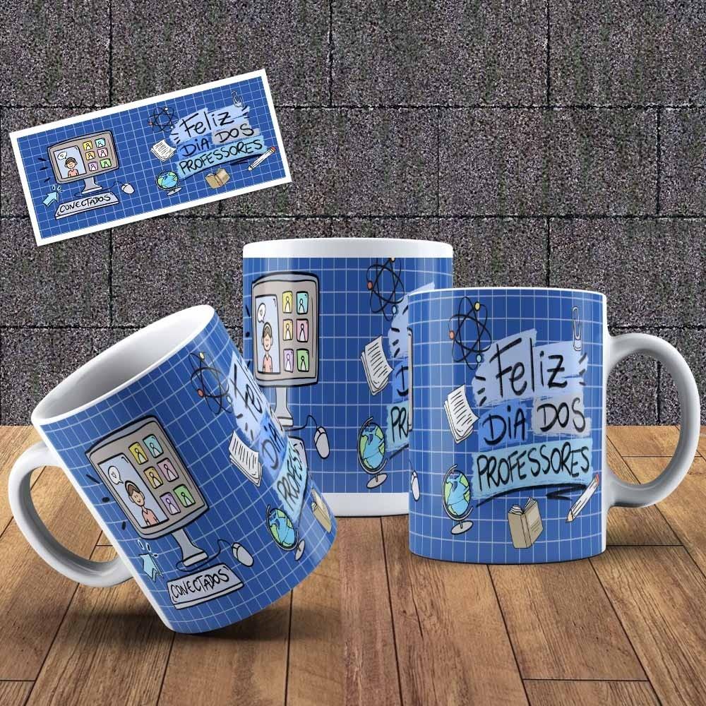 Caneca Feliz Dia Dos Professores Azul (Rascunho)